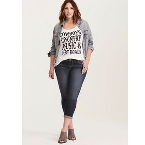 Torrid-White Country Music Racerback Tank Top